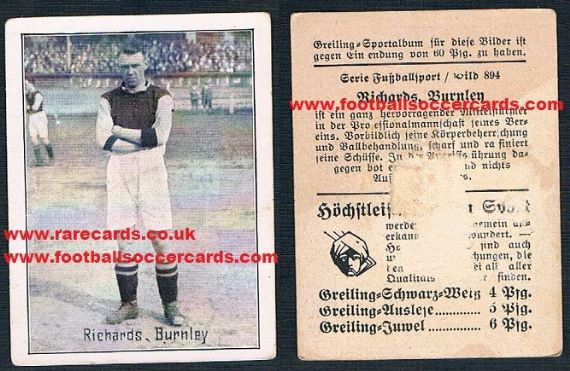 1926 Greiling German card of Percy Richards Burnley & Plymouth AMR low price